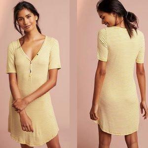 Pure+Good Yellow Stripe Short Sleeve Henley Dress